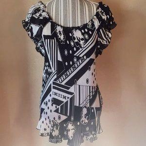 Black & white Dress Barn top NWT